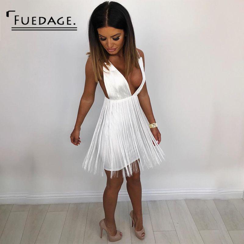 a74460b950e 2019 Fuedage Tassel Party Dresses Women White Dress Elegant Evening Spaghetti  Strap Sexy V Neck Backless Mini Summer Dress Vestido From Lotustoot, ...
