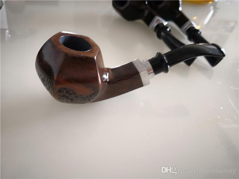 New carved unique ebony Smoking pipe graven dry herb wood pipes classic Tobacco Pipe smoke man Nice Gift USA hot selling