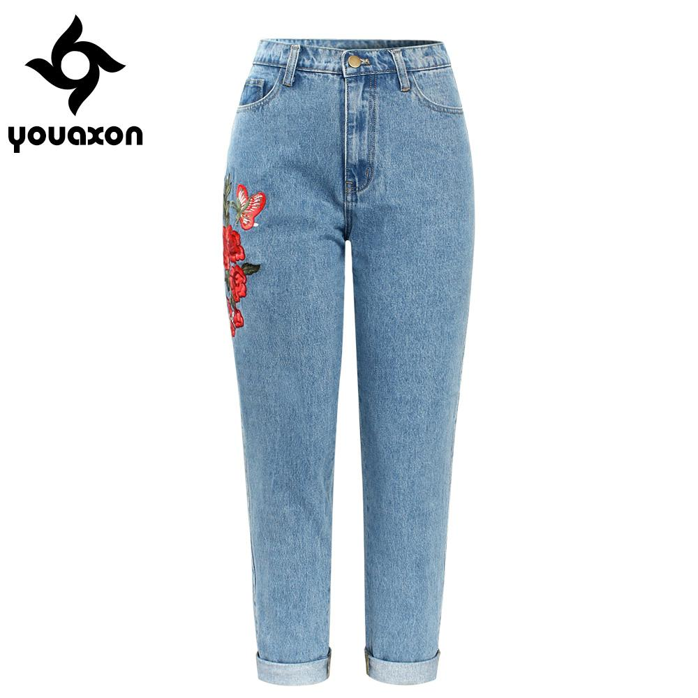 16722c7ef36e8 2019 2121 Youaxon High Waisted Boyfriends Mom Jeans With Embroidery Women`s  New Vintage Denim Pants Jeans For Women Jean From Jilihua