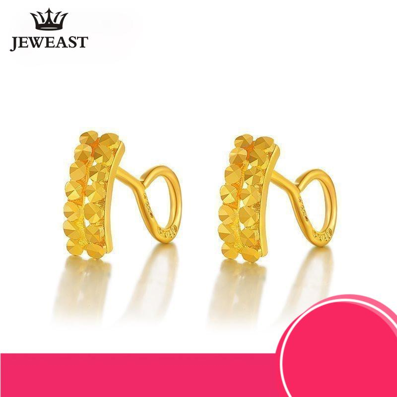 d12560e66700e 24K Pure Gold Earring Real AU 999 Solid Gold Earrings Double row Imitation  Diamond Upscale Trendy Fine Jewelry Hot Sell New 2018