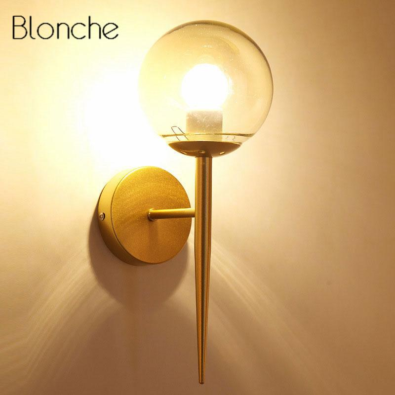 Moderne Glaskugel Wandleuchte Schlafzimmer Nachttischleuchte Gold Led  Wandleuchte Leuchten Indoor Loft Industrial Home Decor E27