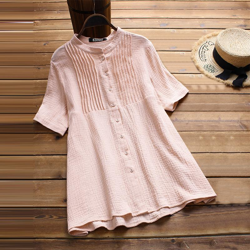 3ccc67adf56 2019 2018 Plus Size ZANZEA Summer Party Solid Pleated Blouse Women Casual  Short Sleeve Buttons Loose Cotton Linen Tops Shirts Vestido From Erzhang