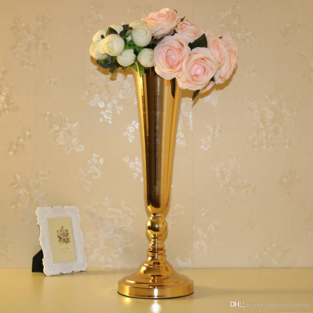 Grosshandel Hochzeit Dekoration Gold Boden Vase Metall Blumenvase