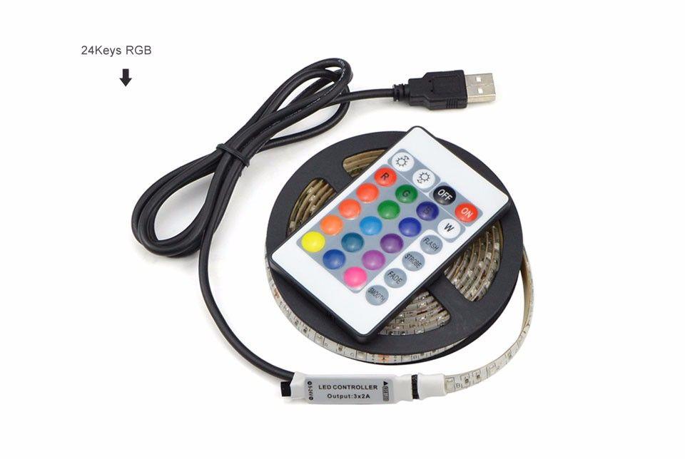 Câble USB DC 5V 1M 2M 3M 4M 5M 3528/5050 SMD RGB LED bande lumineuse IP20 / IP65 Ruban adhésif étanche Eclairage de fond TV