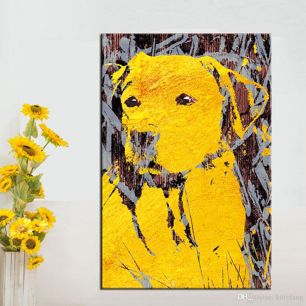 23a3ccd0d19 1 Panel Wall Pictures Canvas Art Prints Gold Dog Animal Oil Painting For  Living Room Home Decor No Framed Posters And Prints UK 2019 From Kittyfang