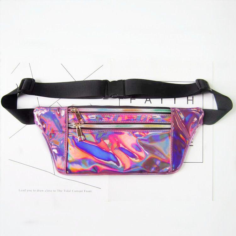 New Laser PU Saco de Cintura Metálica Mulheres Meninas Design de Moda Rainbow Holograma Translúcido Reflective Fanny Packs Sparkle Travel Beach Bag