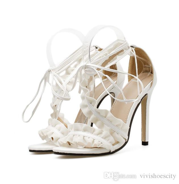 5338f1d1ca7 Women Designer Shoes Ladies White Ruffles Ankle Wrap High Heels Wedding Sandals  Size 35 to 40 Designer Shoes Wedding Shoes Shoes Women High Heels Online ...