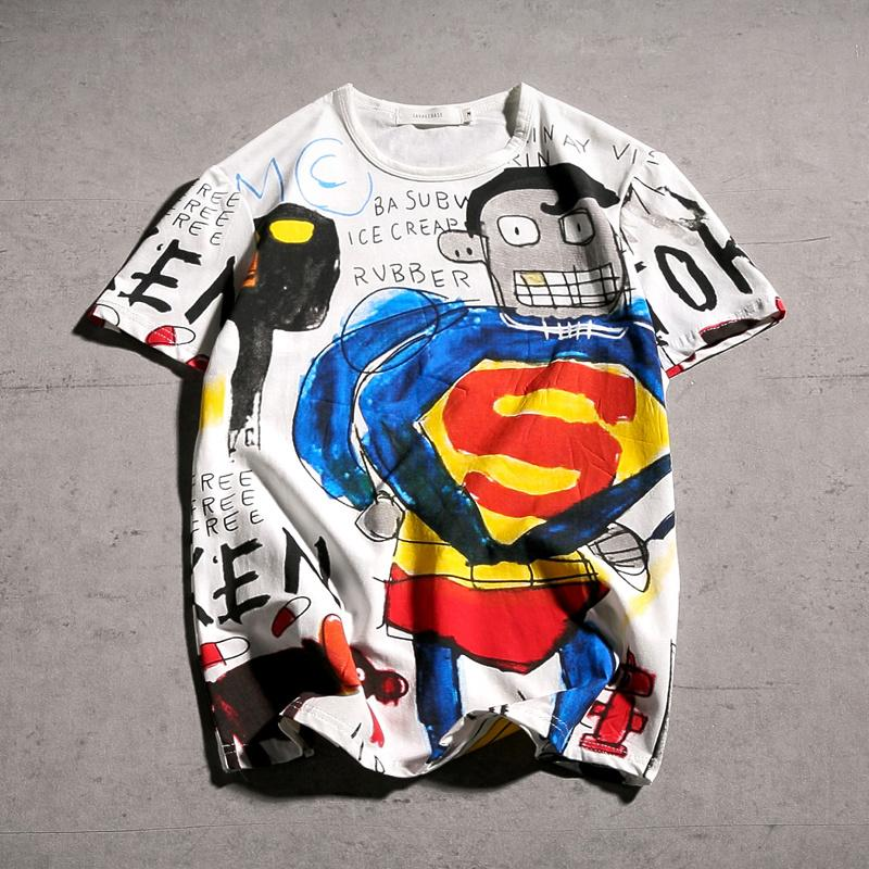 bc1acdc1b8f Summer Male T-shirt Japan Harajuku Cartoon Graffiti Superman Loose ...