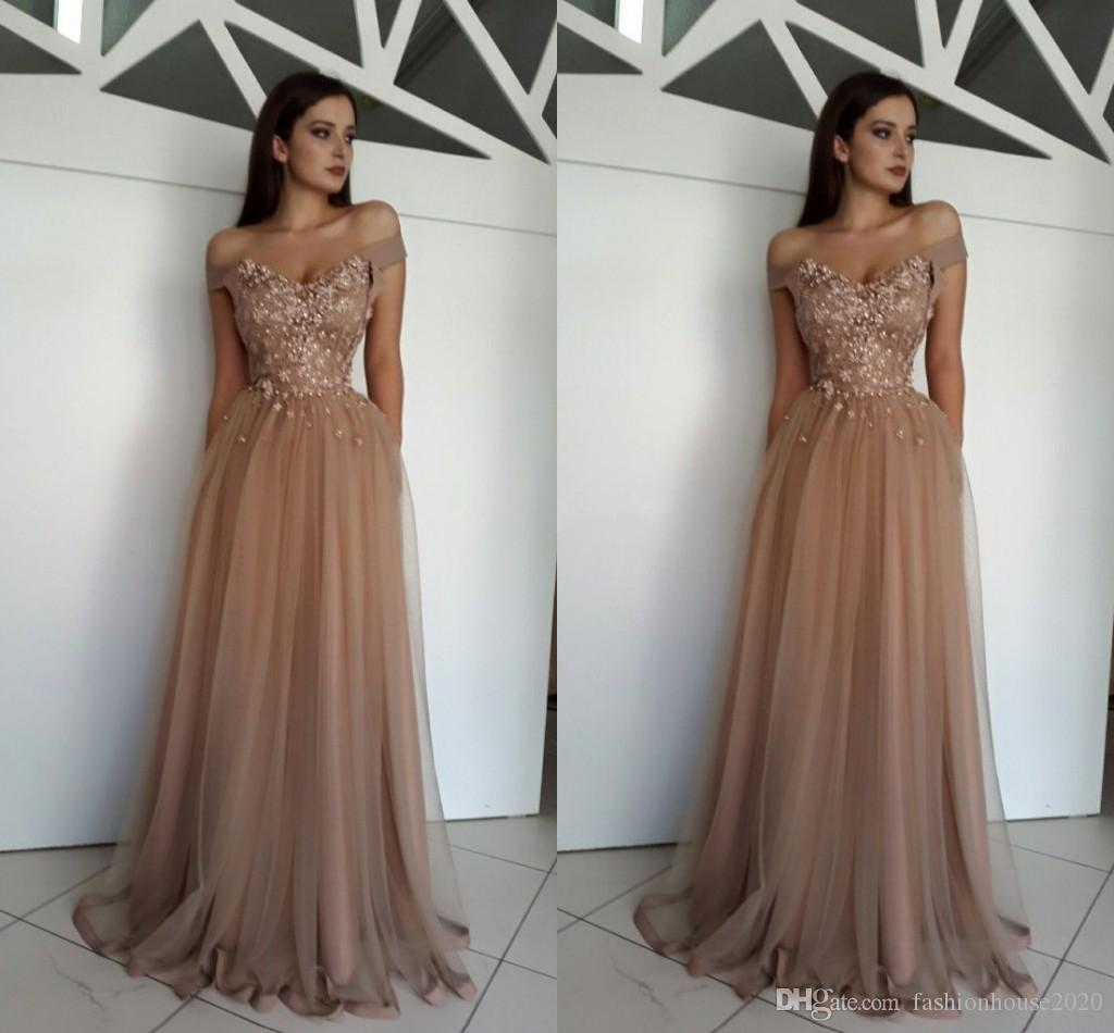 09a849a19ec4e 2019 Elegant Off Shoulder Evening Dresses Wear Brown Tulle 3D Flowers  Crystal Beads Long Sexy Plus Size Custom Party Dress Formal Prom Gowns  Fitted Evening ...
