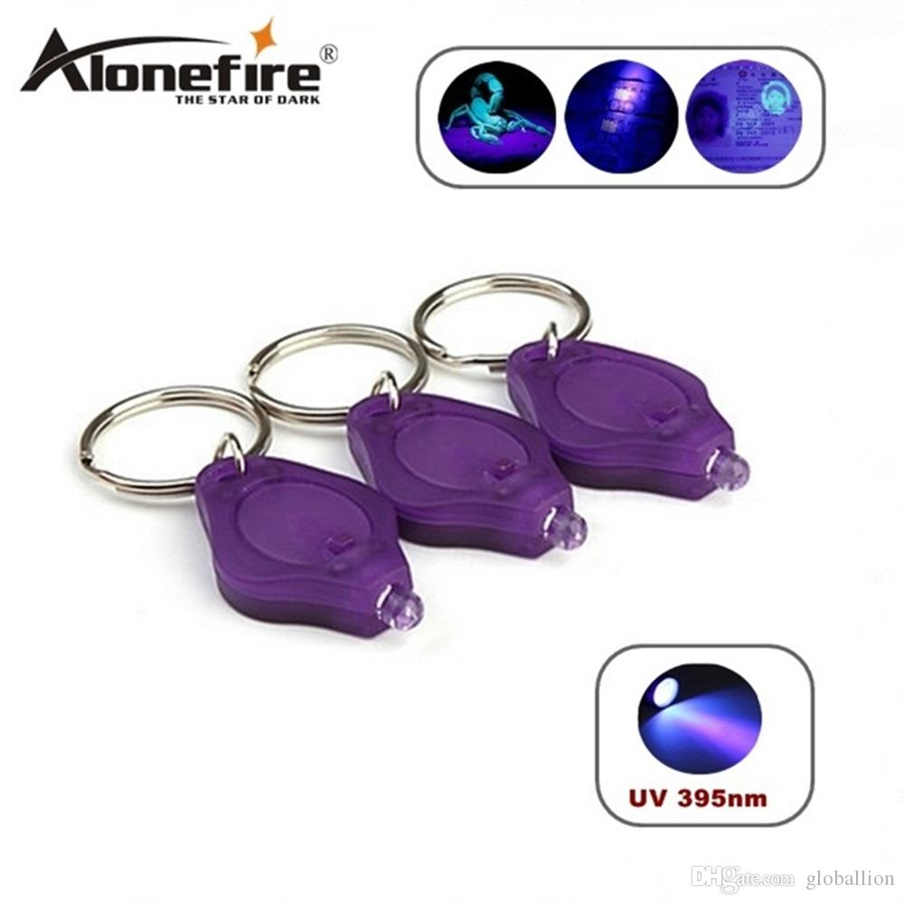 ALONEFIRE Mini Torch UV Detector lamplight white light LED Flashlight Keychain Torch Light Key Chains, free ship