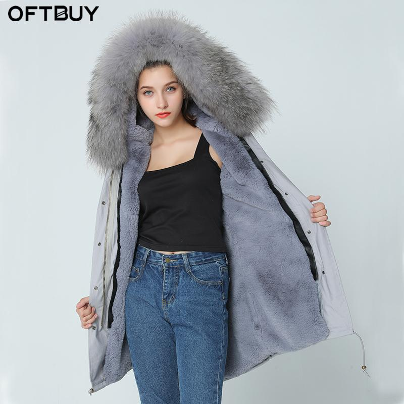 1bf4e18a03676 2019 OFTBUY 2017 Brand New Grey Winter Jacket Coat Women Parka With Natural Real  Large Light Pink Fur Collar Hooded Thick Warm Parkas From Edmund02