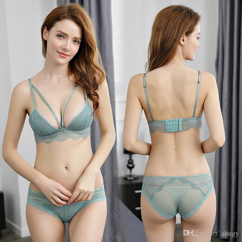 d3fbd706582 2019 New Sexy Underwear Wire Free Push Up Velitation Lace Four Hook And Eye  Bras Super Thin And Deep V Sling Bra Suit From Ahugy