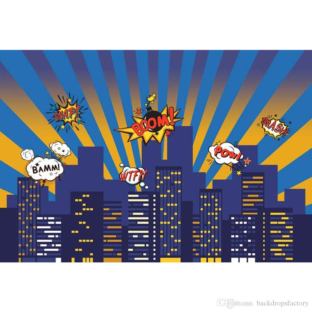 Baby Kids Super Hero Themed Photo Shoot Background Printed Night Sky City Buildings Cartoon Birthday Party Photography Backdrops