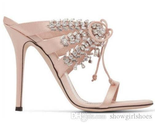 6ed83693c8f3 Luxury Design Crystal Wedding Shoes Women Satin Party Dress High Heels Bling  Cross-tied Women Sandals Sexy Stage Gladiator Shoes Women Wedding Shoes  Party ...