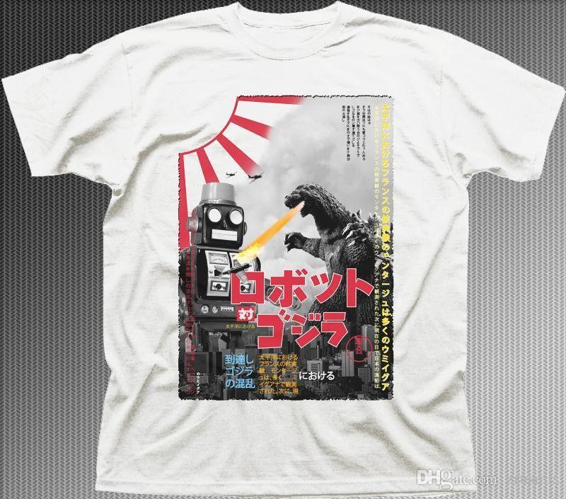 f05bd59a45b GODZILLA Vs SPEELGOED ROBOT Vintage Poster TOKYO Retro JAPAN Wit Katoenen  T-shirt 9916 T Shirt 2017 Mode Mannen Top Tee