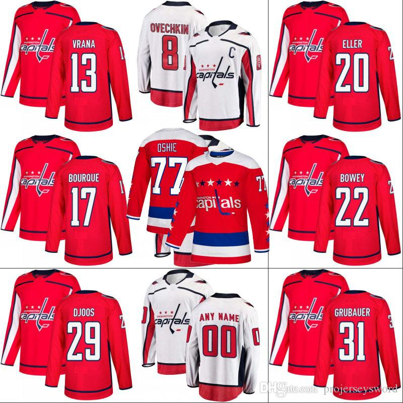 sale retailer fb226 85720 Washington Capitals Jersey 13 Jakub Vrana 22 Madison Bowey 29 Christian  Djoos 31 Philipp Grubauer 33 Parker Milner Hockey Jerseys S-XXXL
