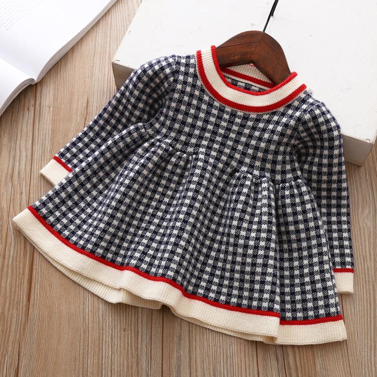 caadb8797926 Girl Kids Clothing Dress Spring Fall Girl Elegant Plaid Dress Long ...