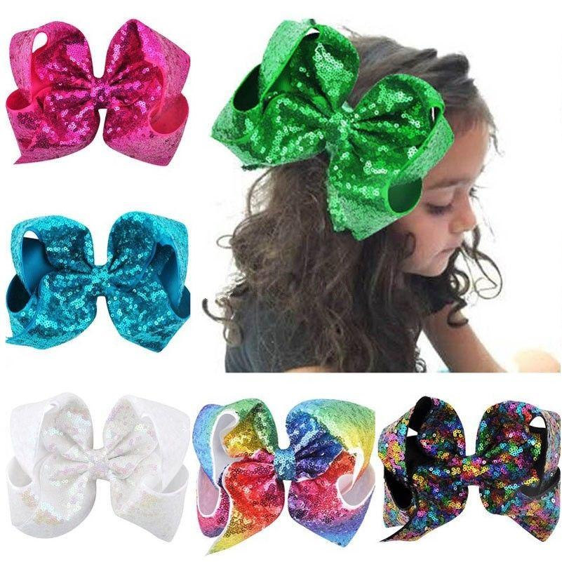 2018 Fashion 8 Inch Infant Newborn Baby Sequin Bows Boutique Hair Clip Alligator Clips Girl Hair Accessories Headwear Barrettes