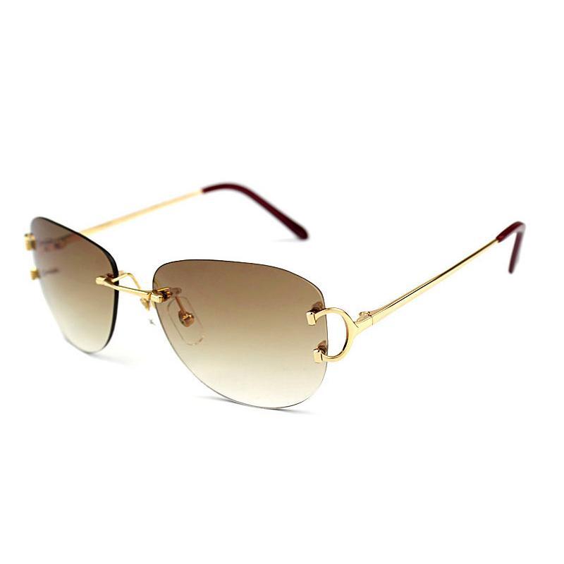 484bb2ea3a615 Compre Óculos De Sol Sem Aro Homens Oval Óculos De Sol Mulheres Gafas Oculos  De Sol Masculino Luxo Óculos De Armação Decoração Óculos 828 De  Enchanting11