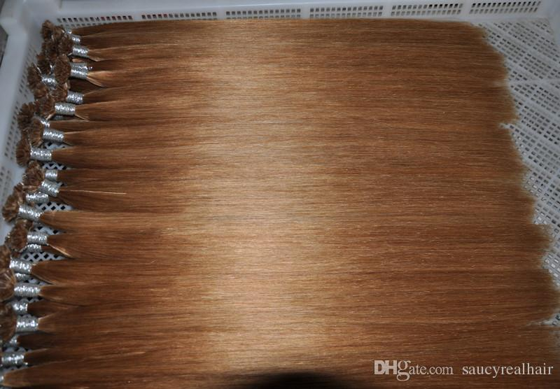 1g filamento U tip Extensiones de cabello humano Europeo Remy 100g / pack Color 12 # Nail Russion Remy Hair, dhl libre