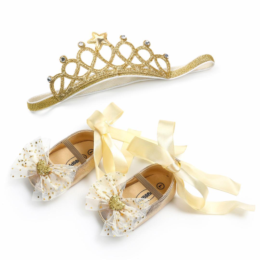8728ee6fd8 Compre Zapatos De Cuna Para Niña Pequeños Zapatos De Cuna Para Recién  Nacidos Zapatos De Princesa Para Niña Con Lazo + Diadema 2 Piezas Juegos De  Bebé ...