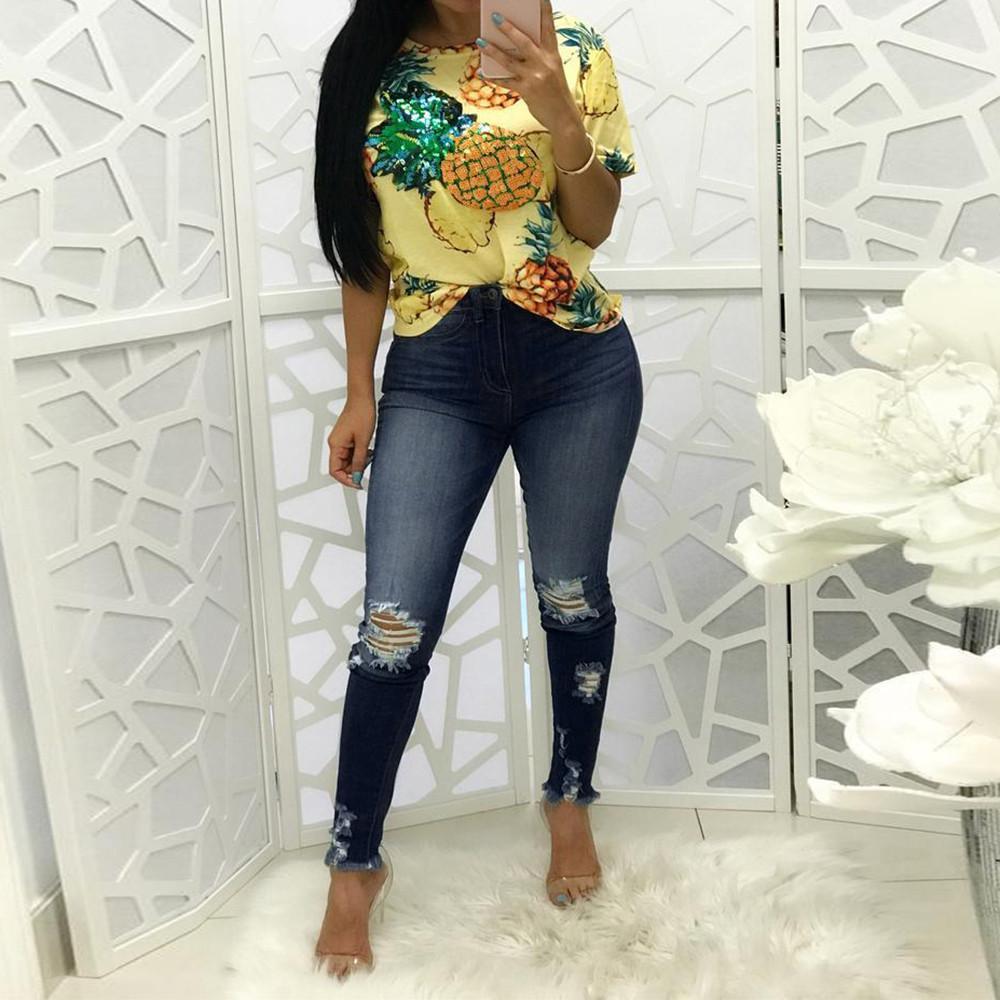 d65724c0167 Acheter Mesdames Fashion Femmes Taille Haute Trou Serré Jeans Élastiques  Fashion Trou Petits Pieds Jeans Taille Haute Crayon Mince De  27.88 Du  Beautyjewly ...