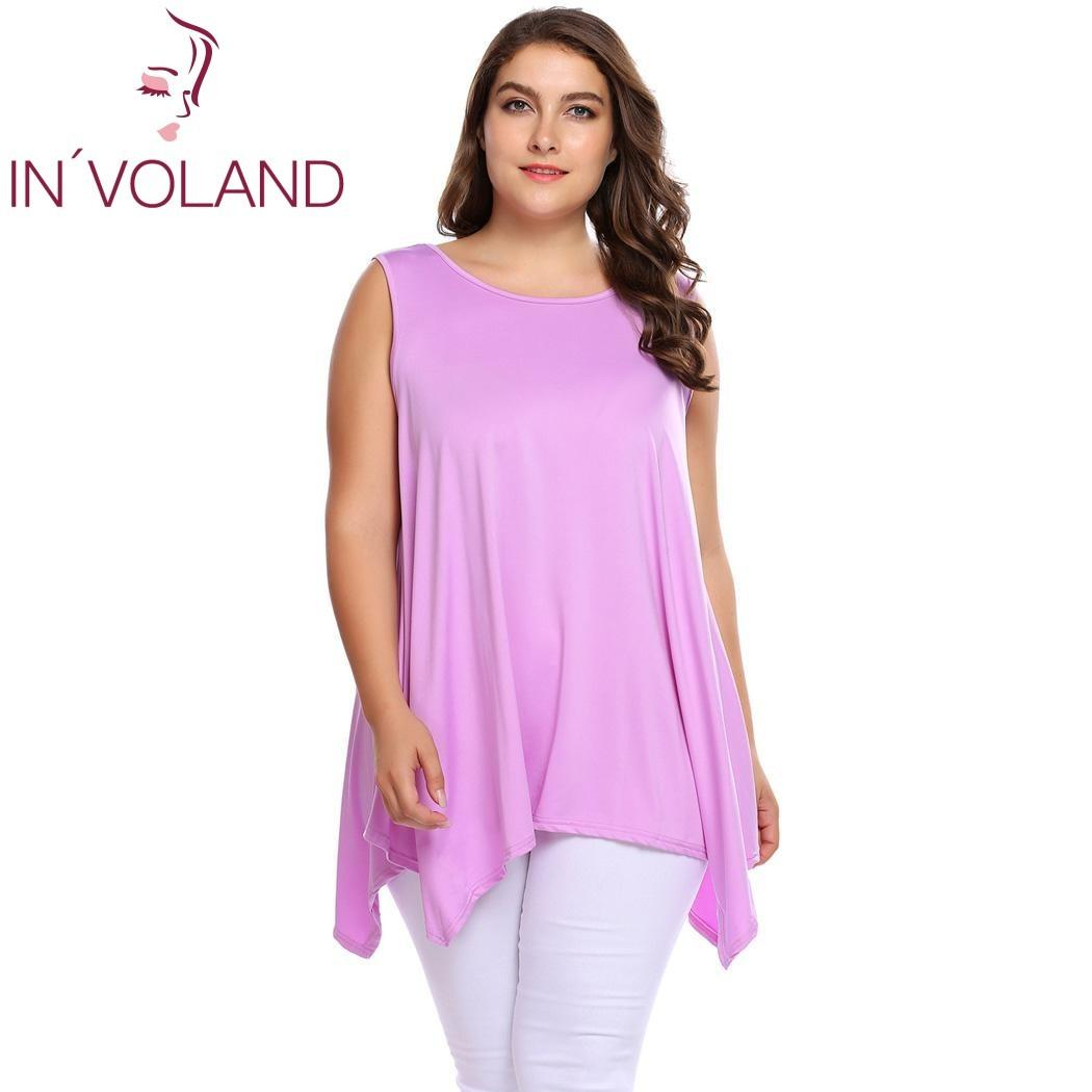 2019 IN VOLAND Women Tank Tops Plus Size L 4XL Vintage O Neck Sleeveless  Solid Asymmetrical Pullovers Tunic Tees Camis S915 From Ruiqi02 2ddb0142b