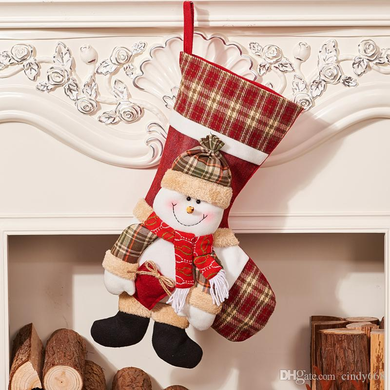 Christmas Stockings Xmas Decoration Snowman Gift Bag Ornaments Large Size Candy Pouch Family Party Props 1pcs decora o para casa
