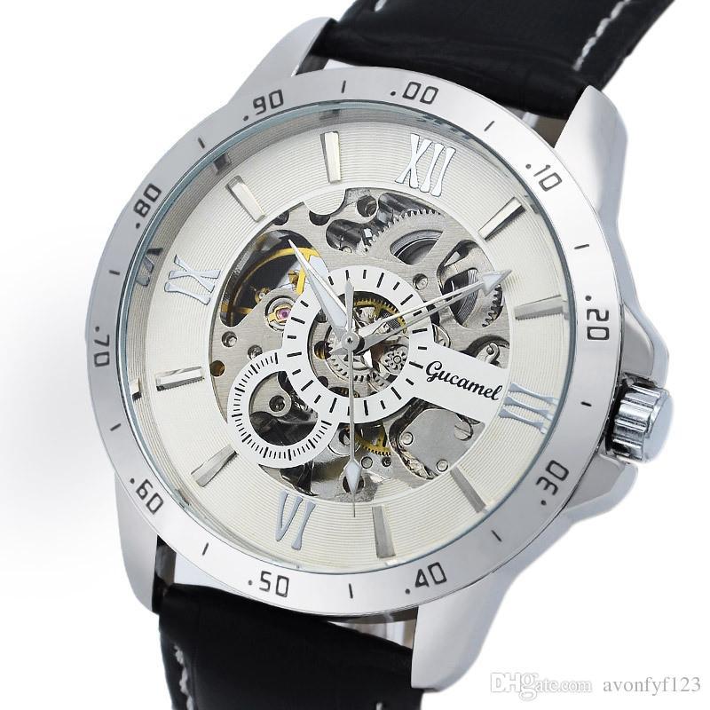2018 Luxury Men Watch Hollow Out Correa de cuero resistente al agua Reloj de pulsera de acero inoxidable automático mecánico reloj para hombre A268
