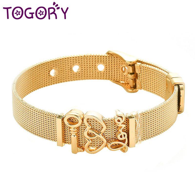 c72e879cfe5d Acheter Simple Couple Coeur Fine Bracelet En Acier Inoxydable Bracelet En  Maille Bracelet Boucle De Ceinture Réglable Pour Femmes Hommes Charme  Bijoux De ...