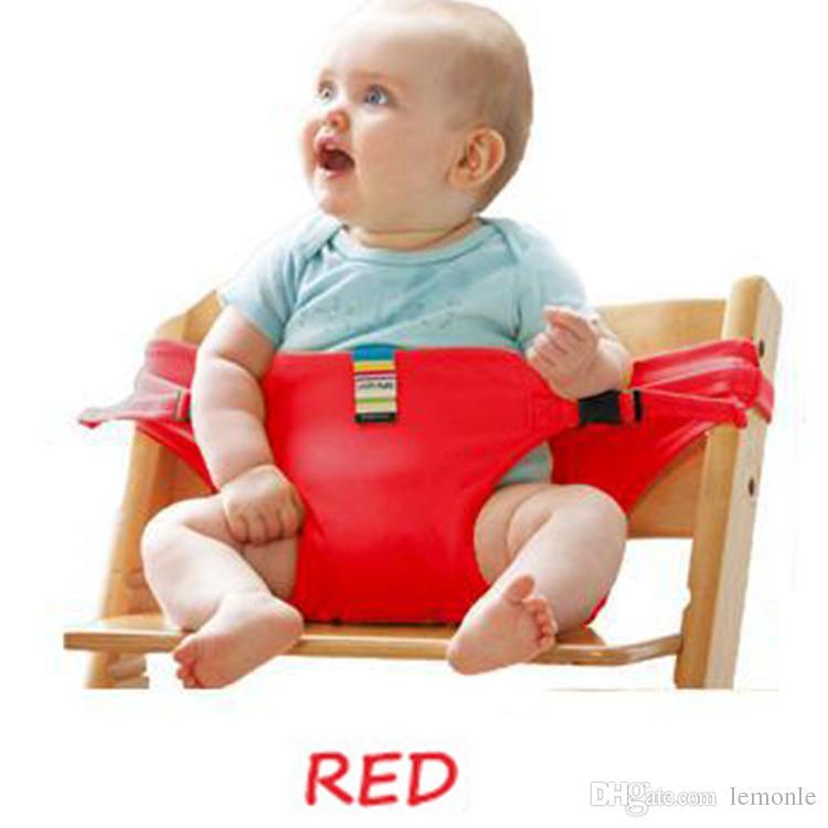 Presidente do bebê dobrável cinto de segurança do assento portátil Almoço Cadeira estiramento envoltório de alimentação Baby Cinto de impulsionador do assento