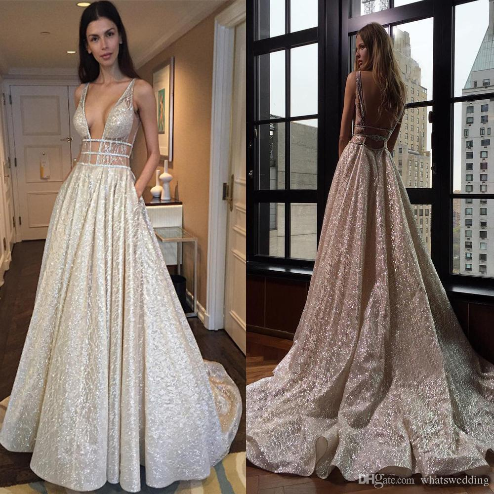 ca096618eca Sexy V Neck Sleeveless Prom Dress Long Sequins See Through Silver Sequin  Backless Evening Dress With Beading Cutout Side Vestidos De Fiesta Prom  Dress Shops ...