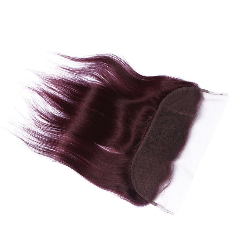 Wine Red Human Hair Bundle Deals with Frontal Closure Straight #99J Burgundy 13x4 Ear to Ear Lace Frontal Closure with Virgin Hair 3Bundles