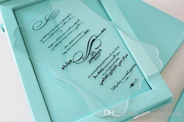 2016 Luxury Acrylic Wedding Invitation Elegant Invitation Clear
