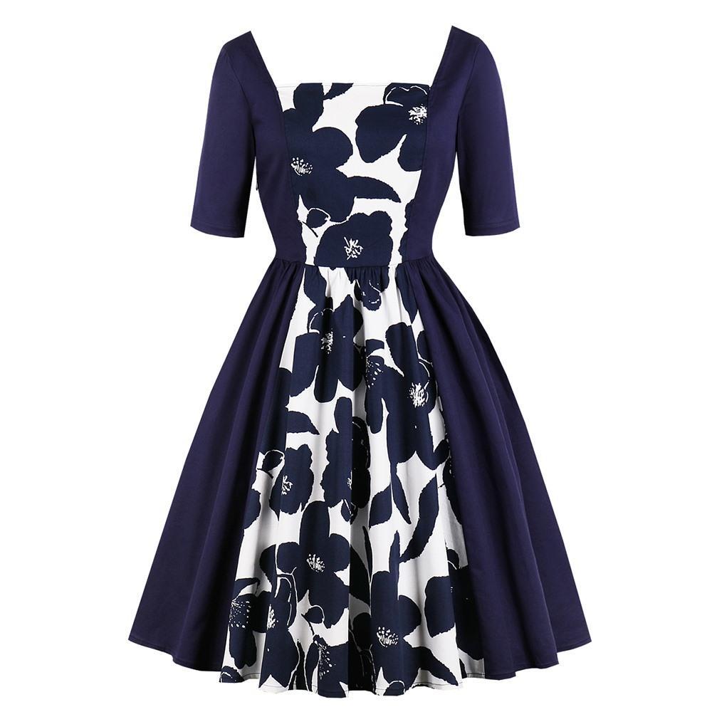 004274775c62 Acquista 2018 Vintage Elegante Plus Size 4XL Donna Abiti Cotone A Vita Alta  Con Cerniera Stampa Floreale Ragazze Grandi Dimensioni Blu Femminile Vestito  A ...