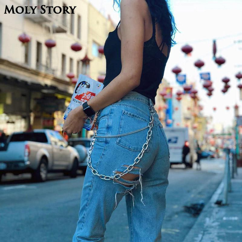 f3d3f6fbcd1 2019 Sexy Bottom Ripped Jeans With Chain Blue Easy Boyfriend Jeans For Women  High Waisted Jeans Femme Baggy Loose Denim Pants From Molystory