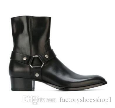 Yeni Varış Klasik Wyatt Ayak Bileği Çizmeler Batı Tarzı Siyah Deri Motorcylcle Boots Erkekler Beyler Ayakkabı Güz Kış 2018
