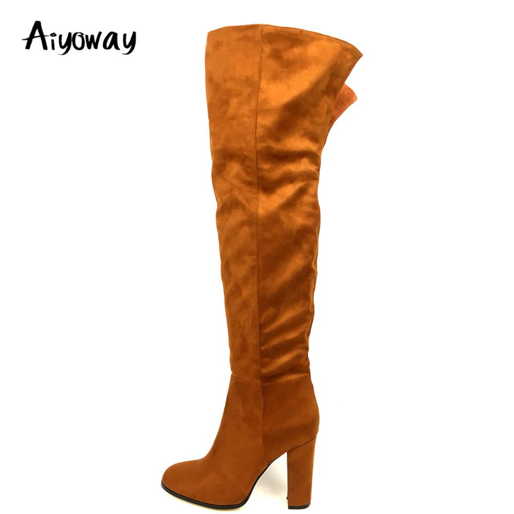 73b8e05b045 Aiyoway Women Ladies Round Toe High Heel Over Knee Boots Brown Faux Suede  Winter Party Fashion Long Boots Slip On US Size 5~17 Black Boots For Women  ...