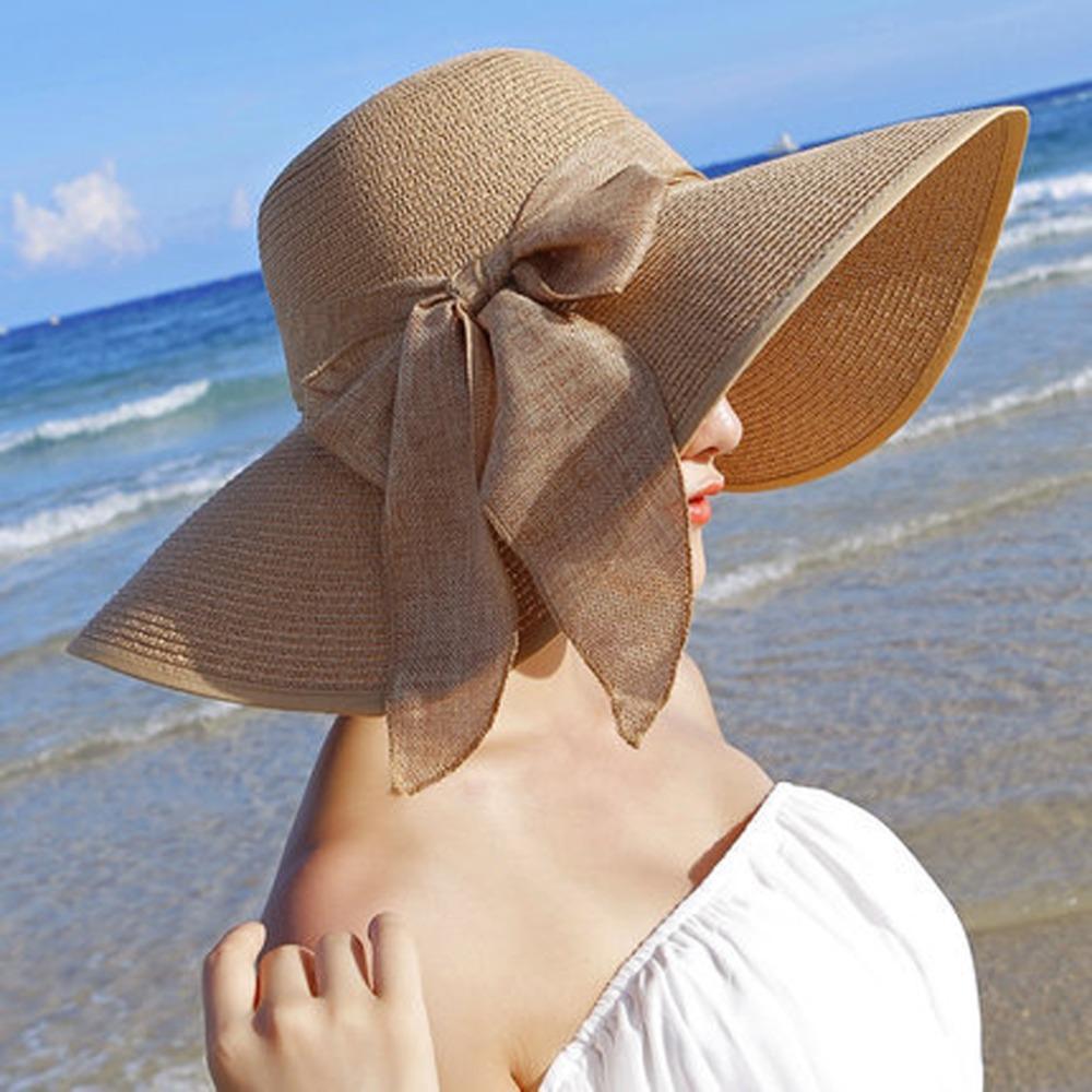d8f5a5281a868 Compre Verão Grande Chapéu De Palha De Aba Floppy Largo Aba Cap Sun Bowknot Praia  Dobrável Novo De Spectalin