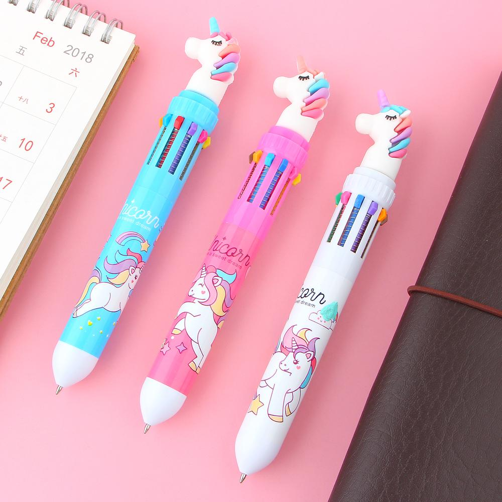 10 Colors Unicorn Ballpoint Pen Multifunction Colorful Ball point pens Writing Cute Office School Stationery Papelaria Escolar