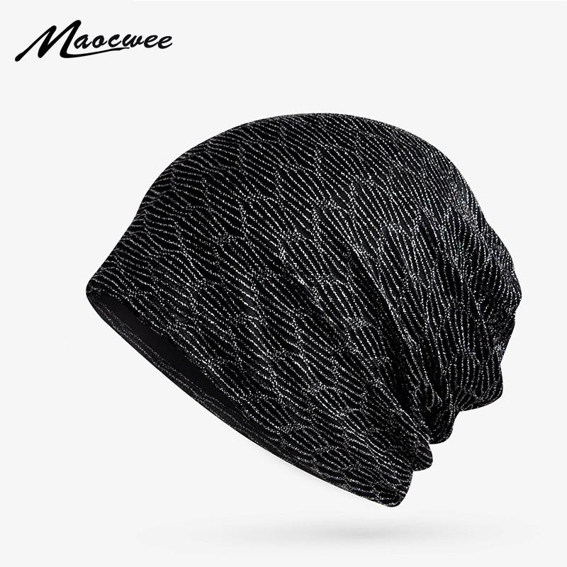 0a572f9d508 2019 Slouchy Gold Wire Hollow Beanie Summer Thin Solid Turban Hat For Women  And Men Casual Breathable Skullies Knitted Scarf Cap 2018 From Quintin