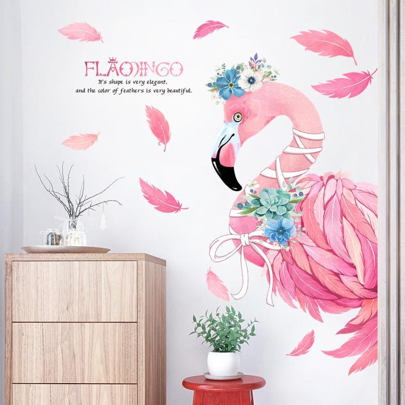 Moderne Wandtattoos großhandel aufkleber rosa romantische flamingo dekorative