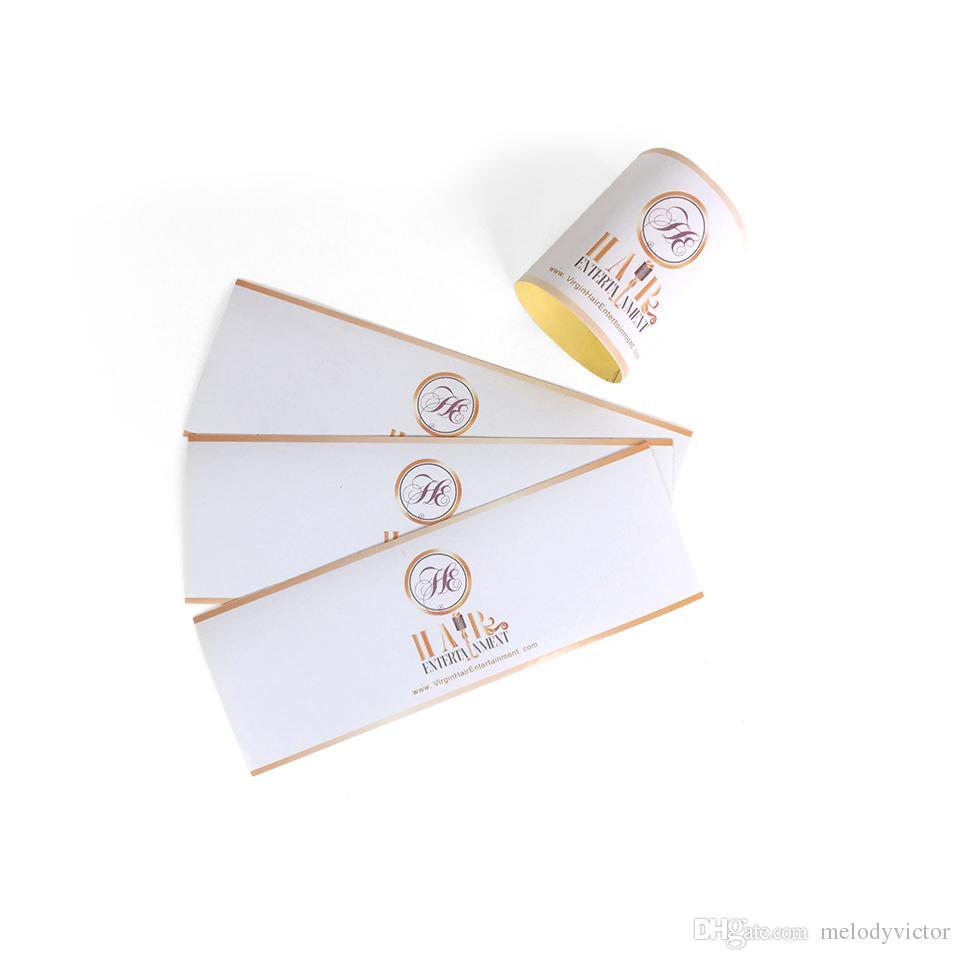 ملون مخصص طباعة الشعار الخاص الذاتي لاصق تسمية التفاف للشعر الإنسان خيط في حزمة التعبئة والتغليف 15x2.5cm الشحن دي إتش إل الحرة