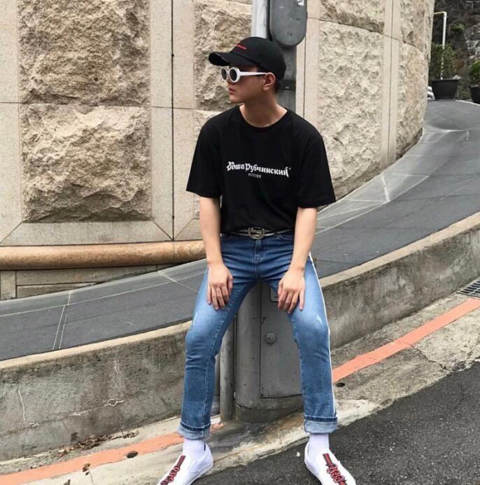 여름 고카 rubchinskiy 짧은 소매 남자 여자 애호가 티셔츠 패션 티 탑