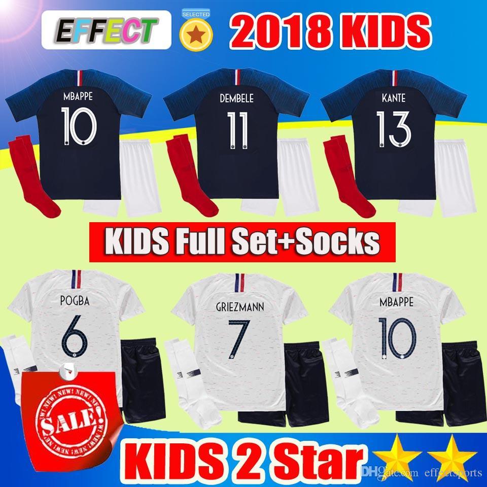 Compre 2018 France Copa Del Mundo Francia 18 19 MBAPPE Kids Kit 2019  THAUVIN GRIEZMANN Niños Uniformes DEMBELE POGBA Niños Juegos De Fútbol  FEKIR GIROUD ... f516684c14b30