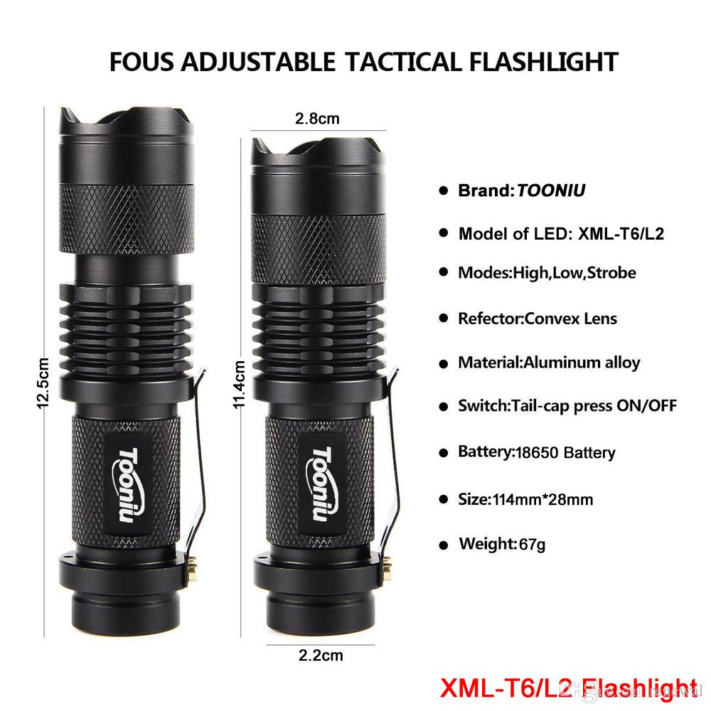 Led flashlights Mini Zoom cree XML L2 T6 Flashlight Led Torch 5 mode 3800 Lumens waterproof 18650 Rechargeable battery