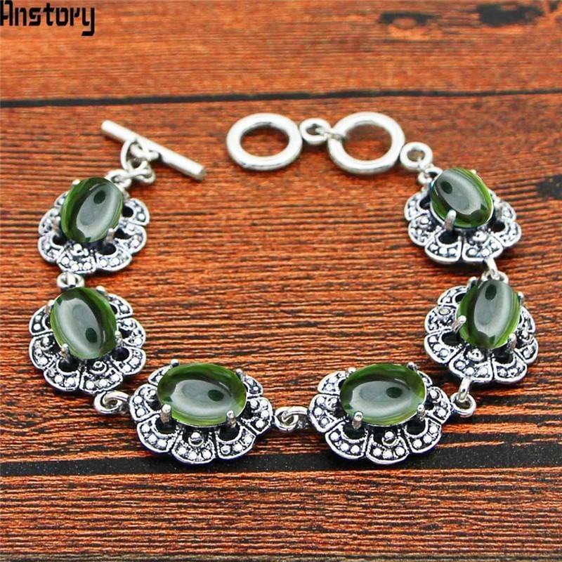 b682c0fab9a2 Compre Oval Transparente Verde Cristal Pulsera Diseño Floral Vintage Look  Plata Antigua Plateada Joyería De Moda TB344 A  40.3 Del Luney