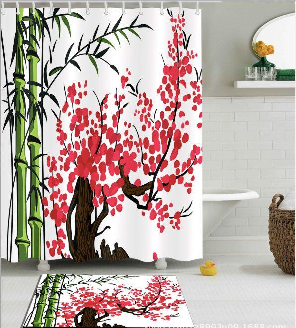 2018 Bamboo Peach Blossom Design Pattern Irish Decorations 3D Print Waterproof Bathroom Decor Fabric Shower Curtains Floor Mats Sets From Paintingart2017