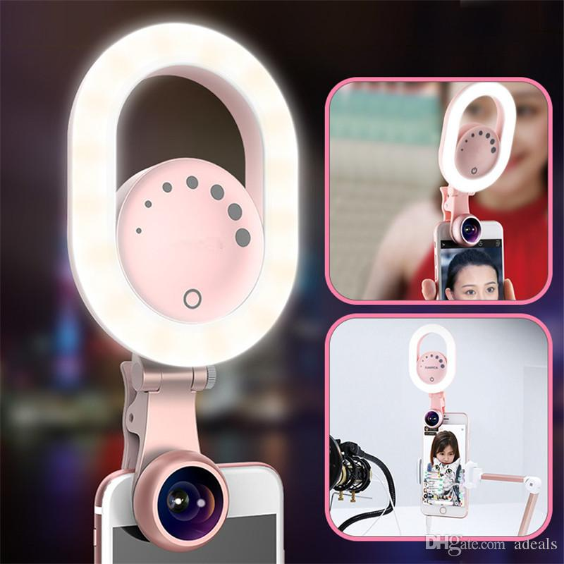 Ring Selfie Light with Wide Angle Lens Clip-on Rechargeable LED Ring Light for iPhone X/8/7 Plus Smartphone Tablet