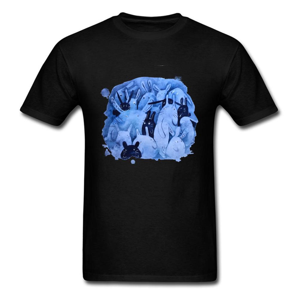 6b56a54249 Art Design Blue Bunny Print Men Black T Shirt Cute Easter Day Cartoon Gift  T Shirt Watercolor Rabbit Pet Lover'S Tops All T Shirt Order Tee Shirts  From ...